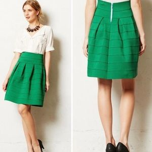 Anthropologie Girls of Savoy Green Bell Skirt